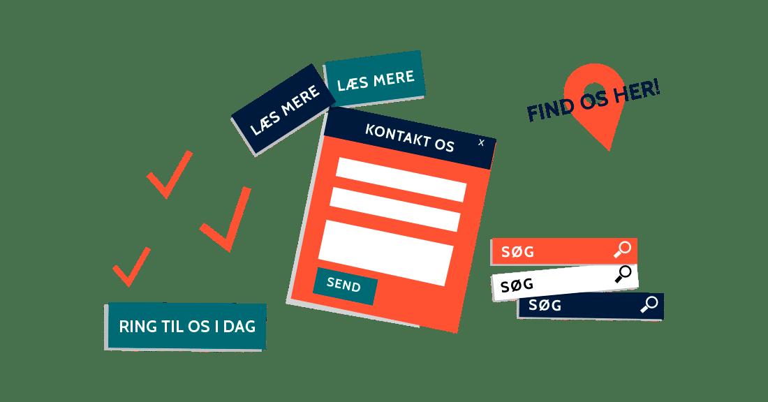 online marketing københavn, ikoner af hjemmeside elementer