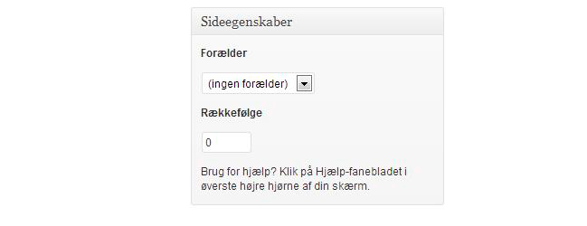 WordPress guide københavn, screenshot af WP sideegenskaber