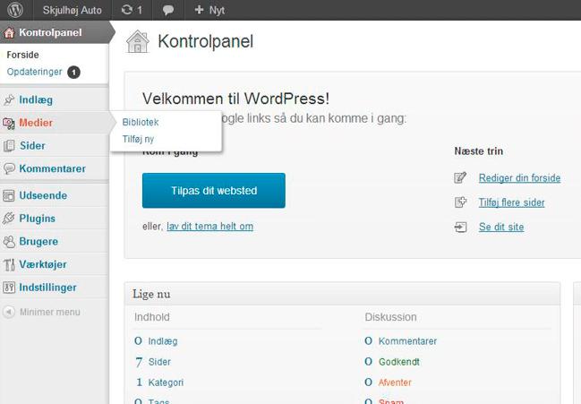 WordPress guide københavn, screenshot af WP kontrolpanel
