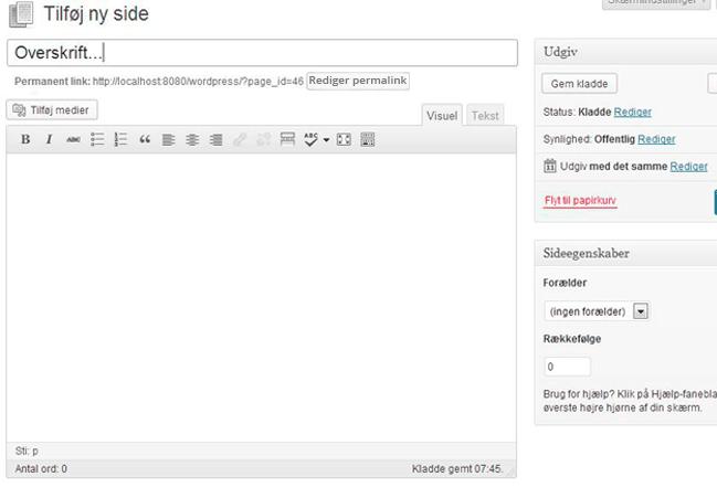 WordPress guide københavn, screenshot af ny side oprettelse